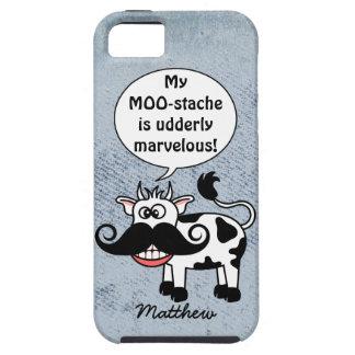 Bigote divertido de la vaca del dibujo animado iPhone 5 funda