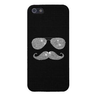 Bigote divertido del diamante con los vidrios iPhone 5 fundas