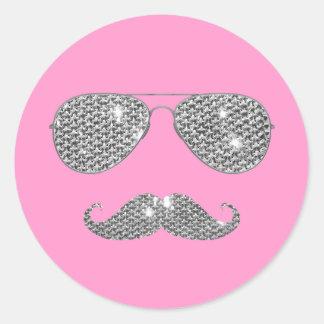 Bigote divertido del diamante con los vidrios pegatina redonda