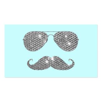 Bigote divertido del diamante con los vidrios tarjeta de visita