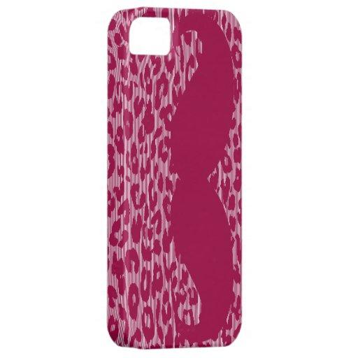 Bigote divertido en piel del leopardo iPhone 5 cárcasas