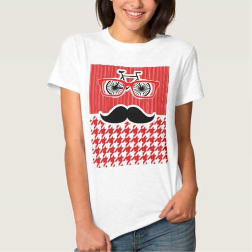 Bigote divertido; Houndstooth rojo T-shirts