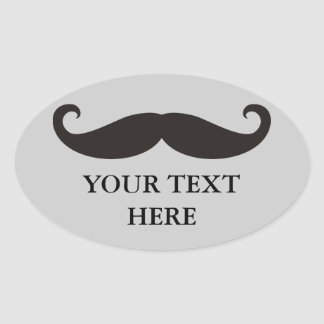 Bigote divertido/Schnurrbart + su texto Pegatina Ovalada