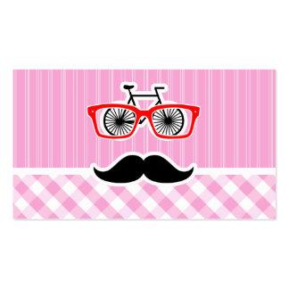 Bigote divertido; Tela escocesa rosada; A cuadros Tarjetas De Visita