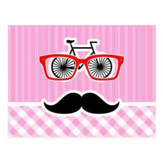 Bigote divertido; Tela escocesa rosada; A cuadros Postal