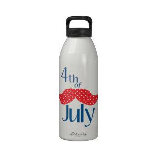 Bigote el 4 de julio botella de agua reutilizable