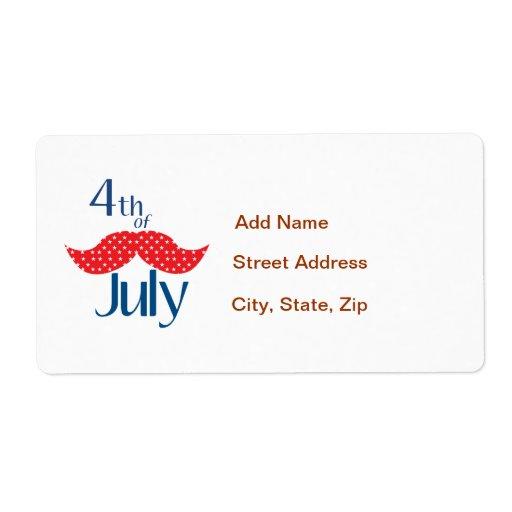 Bigote el 4 de julio etiqueta de envío