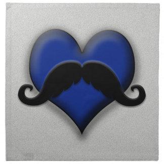 ¡Bigote en el corazón azul, muy retro! Servilleta