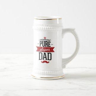 Bigote estupendo puro del papá rojo y negro jarra de cerveza