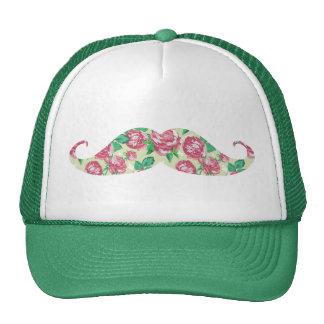 Bigote floral blanco verde rosado femenino diverti gorras de camionero
