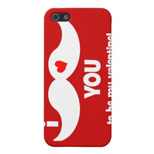 ¡Bigote I usted a ser mi tarjeta del día de San Va iPhone 5 Carcasas