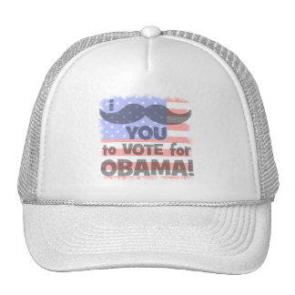 Bigote I usted a votar por Obama Gorros