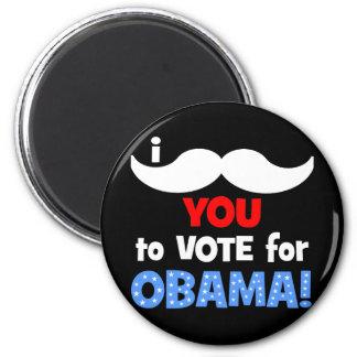 Bigote I usted a votar por Obama Imán De Frigorífico