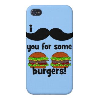 ¡Bigote I usted para algunas hamburguesas iPhone 4/4S Fundas