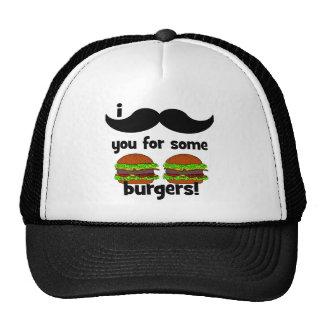 ¡Bigote I usted para algunas hamburguesas! Gorros Bordados