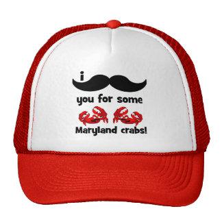 Bigote I usted para algunos cangrejos de Maryland Gorros Bordados