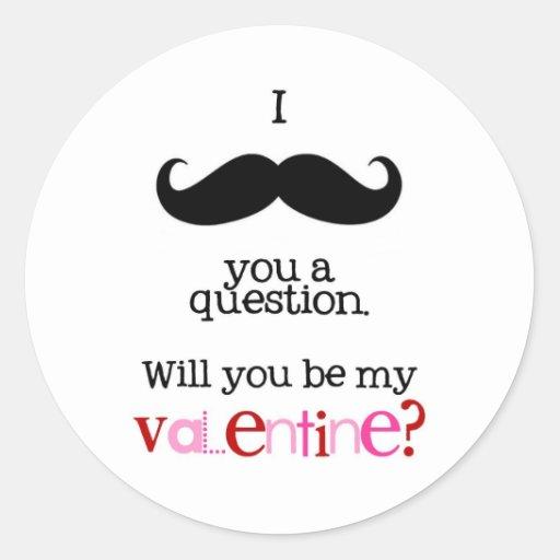 bigote i usted una pregunta pegatina redonda