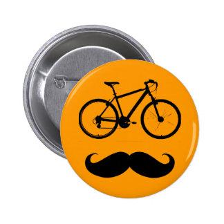 bigote negro de la bici pin redondo de 2 pulgadas