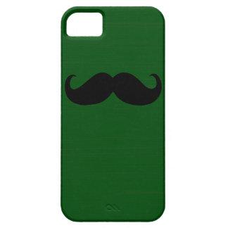 Bigote negro divertido en fondo verde funda para iPhone SE/5/5s