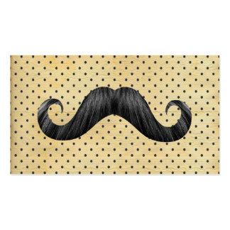 Bigote negro divertido en lunares del amarillo del tarjetas de visita