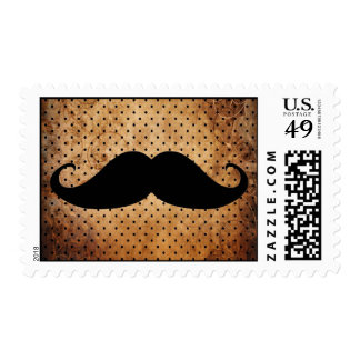 Bigote negro divertido sello postal