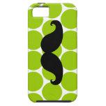 Bigote negro en la caja verde del iPhone 5 de los  iPhone 5 Case-Mate Carcasas