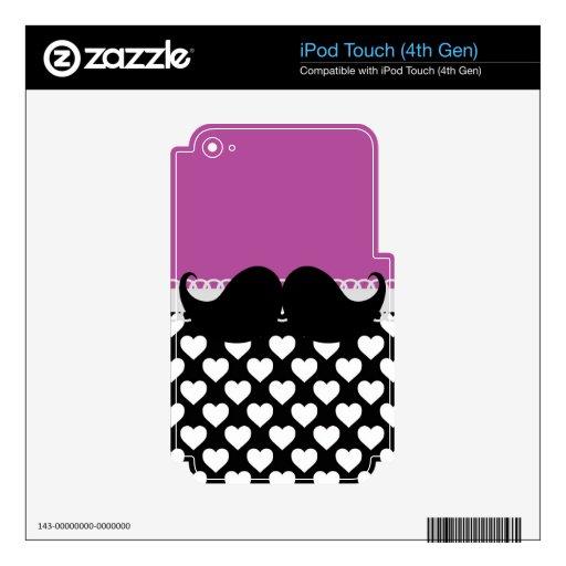 Bigote negro enrrollado retro del manillar calcomanía para iPod touch 4G