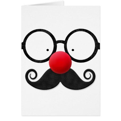Bigote negro redondo de los vidrios de la nariz ro tarjeta de felicitación