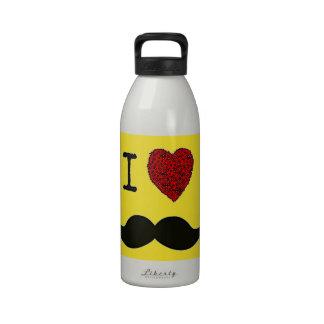 Bigote negro retro del amor del manillar I Botella De Agua