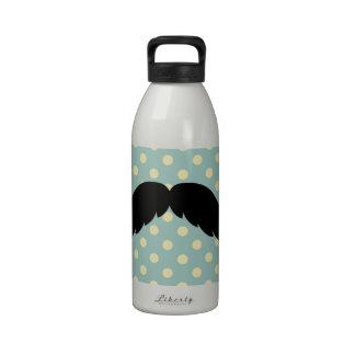 Bigote negro retro del bigote del manillar botella de agua