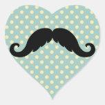 Bigote negro retro del bigote del manillar calcomania de corazon personalizadas