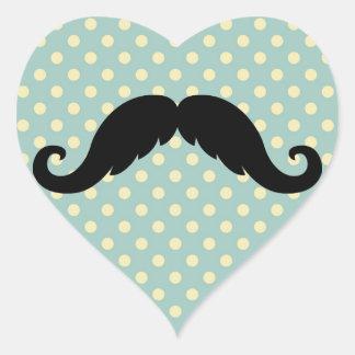 Bigote negro retro del bigote del manillar pegatina en forma de corazón