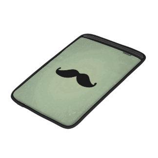 Bigote negro retro del vintage en verde menta lame fundas para macbook air