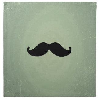 Bigote negro retro del vintage en verde menta lame servilletas de papel