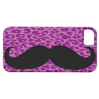 Bigote negro y piel púrpura del leopardo iPhone 5 protectores