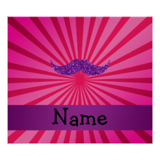Bigote púrpura conocido personalizado del brillo póster
