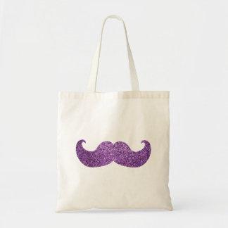 Bigote púrpura de Bling (falso gráfico del brillo) Bolsa Tela Barata