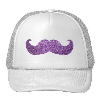 Bigote púrpura de Bling (falso gráfico del brillo) Gorras De Camionero