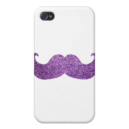 Bigote púrpura de Bling (falso gráfico del brillo) iPhone 4 Carcasa