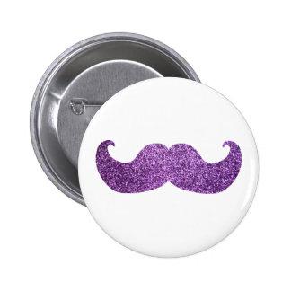 Bigote púrpura de Bling (falso gráfico del brillo) Pin Redondo 5 Cm