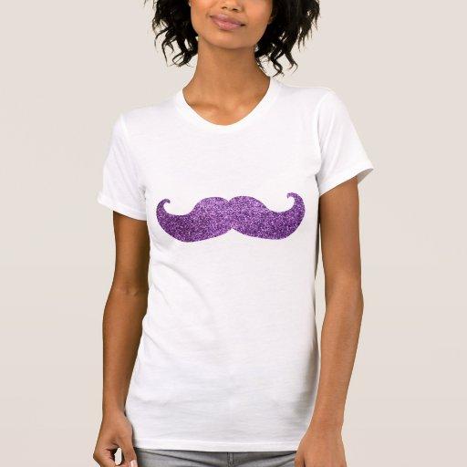 Bigote púrpura de Bling (falso gráfico del brillo) T-shirts