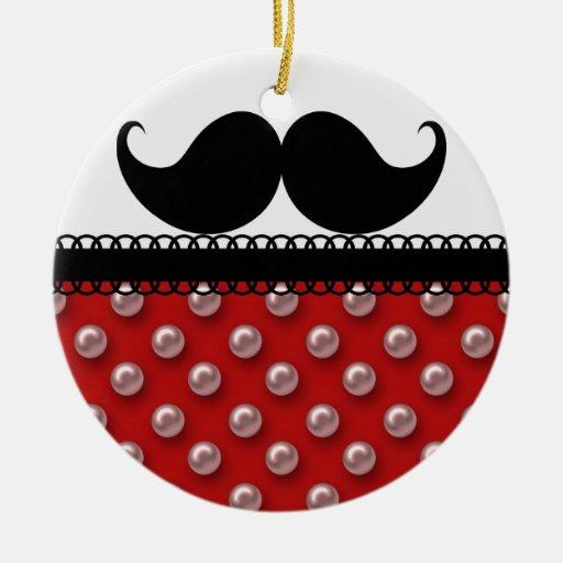 Bigote retro del bigote del manillar adorno navideño redondo de cerámica