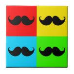Bigote retro enrrollado Stache del bigote del arte Teja Cerámica