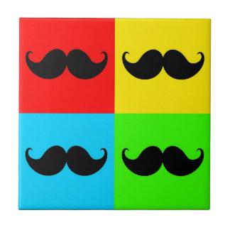 Bigote retro enrrollado Stache del bigote del arte Azulejo Cuadrado Pequeño