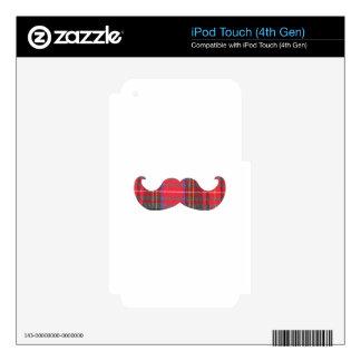 Bigote rojo del tartán calcomanías para iPod touch 4G