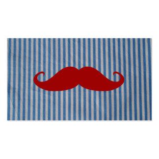 Bigote rojo divertido y rayas blancas azules tarjetas de visita