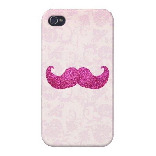 Bigote rosado de Bling (falso gráfico del brillo) iPhone 4/4S Carcasa