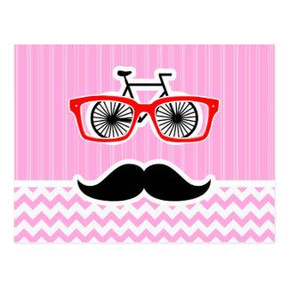 Bigote rosado de Chevron; Divertido Tarjetas Postales
