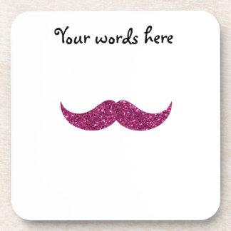 bigote rosado del brillo posavasos