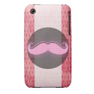 Bigote rosado del lunar iPhone 3 Case-Mate cárcasas